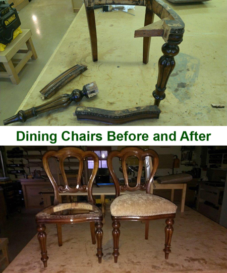 Dining Chairs Before and After Repair
