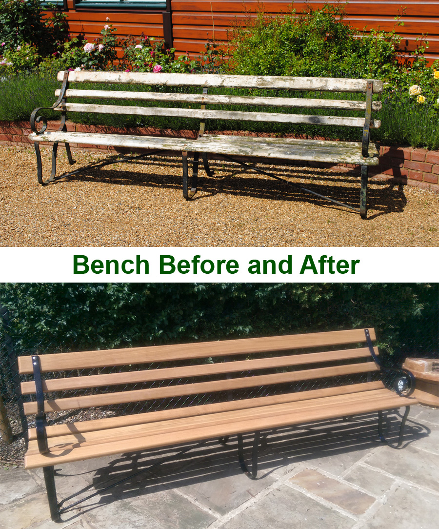 Bench Before and After Restoration