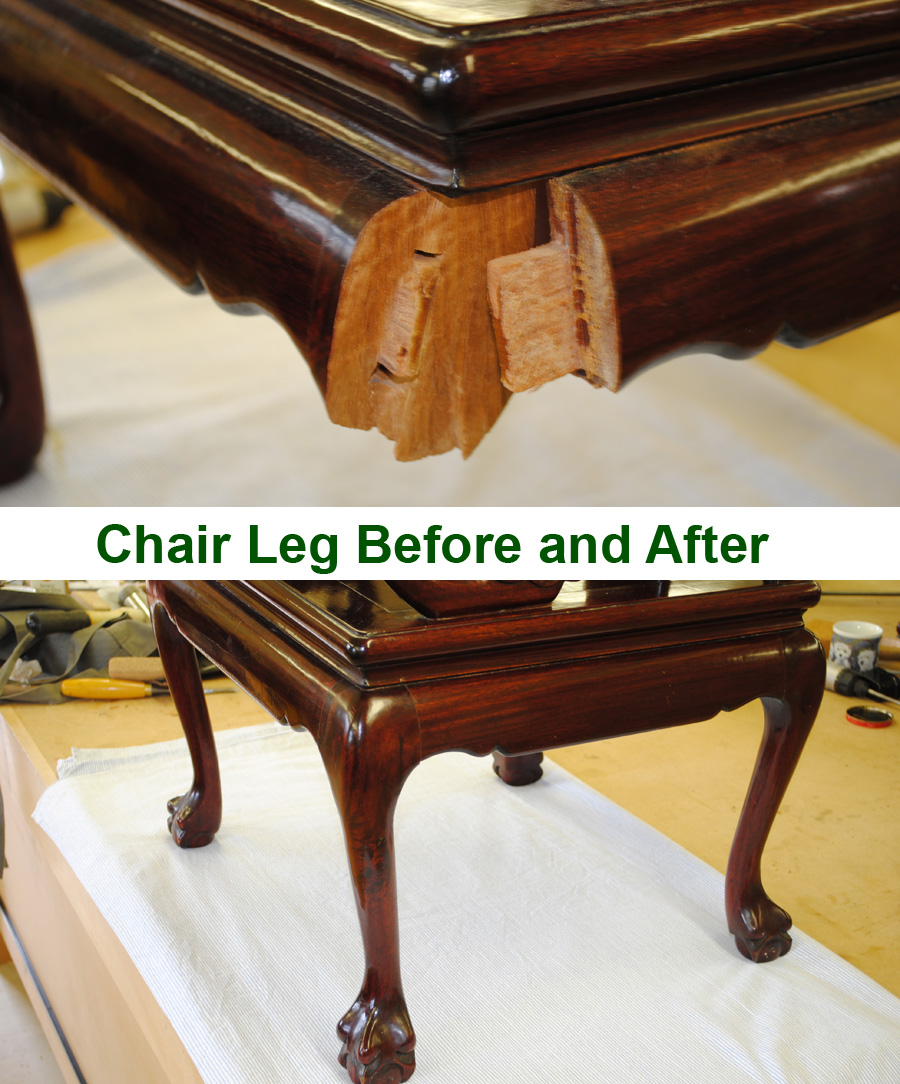 Chair Leg Before and After Repair