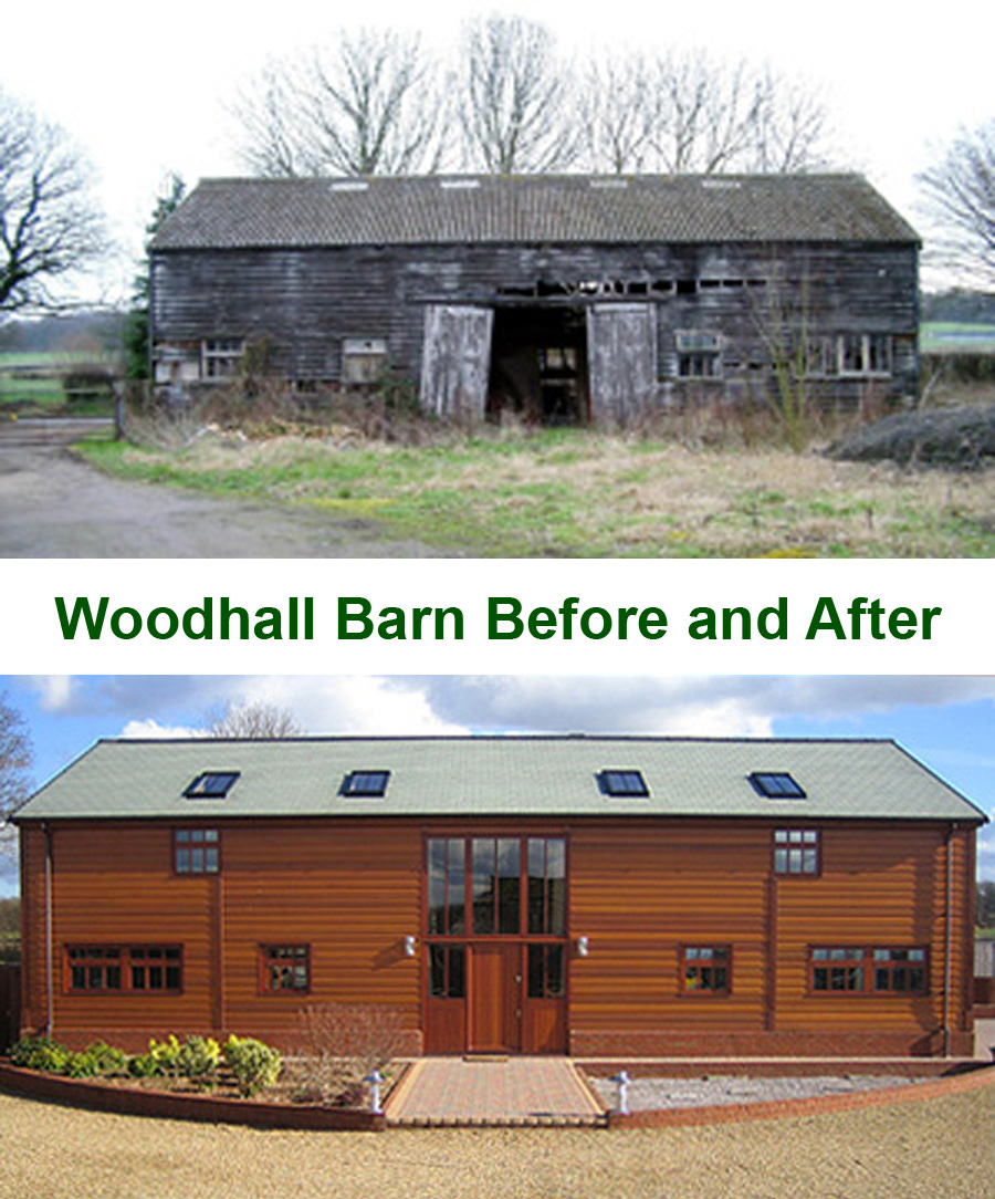 Woodhall Barn Before and After Restoration
